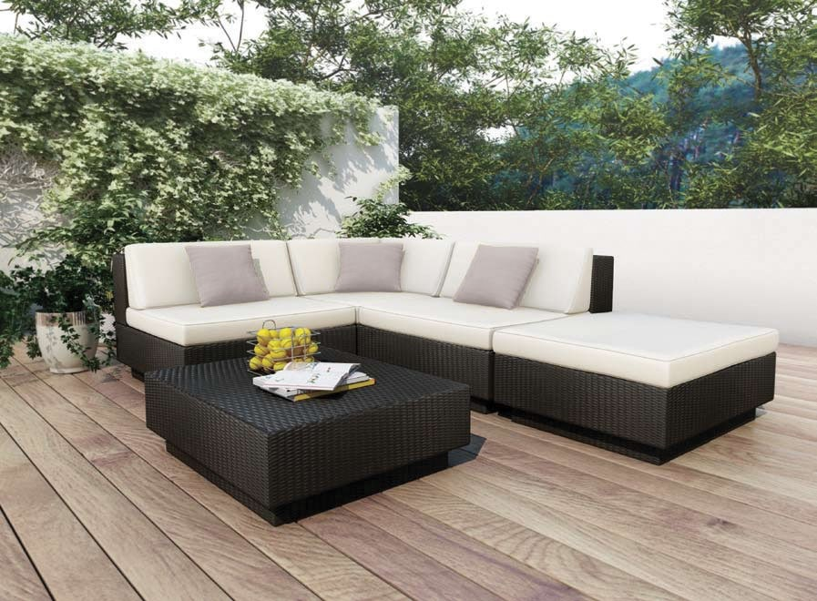 Parkview 5 Piece Patio Sectional Set - Black