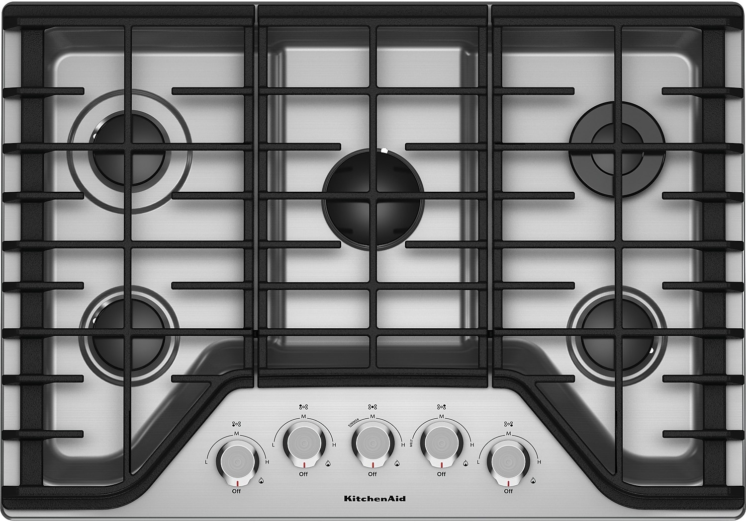 "Cooking Products - KitchenAid 30"" 5-Burner Gas Cooktop – KCGS350ESS"