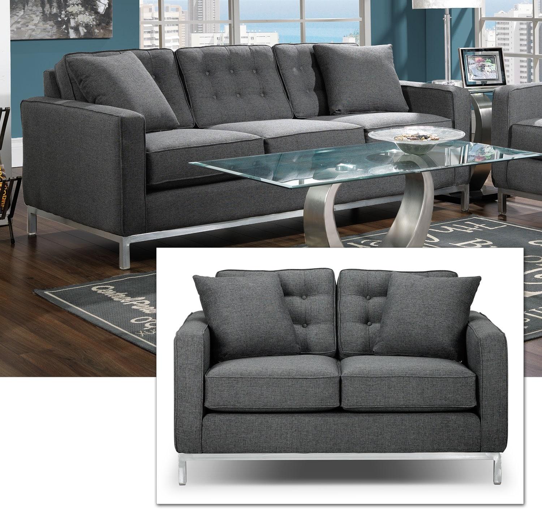 Brunswick Sofa and Loveseat Set - Charcoal