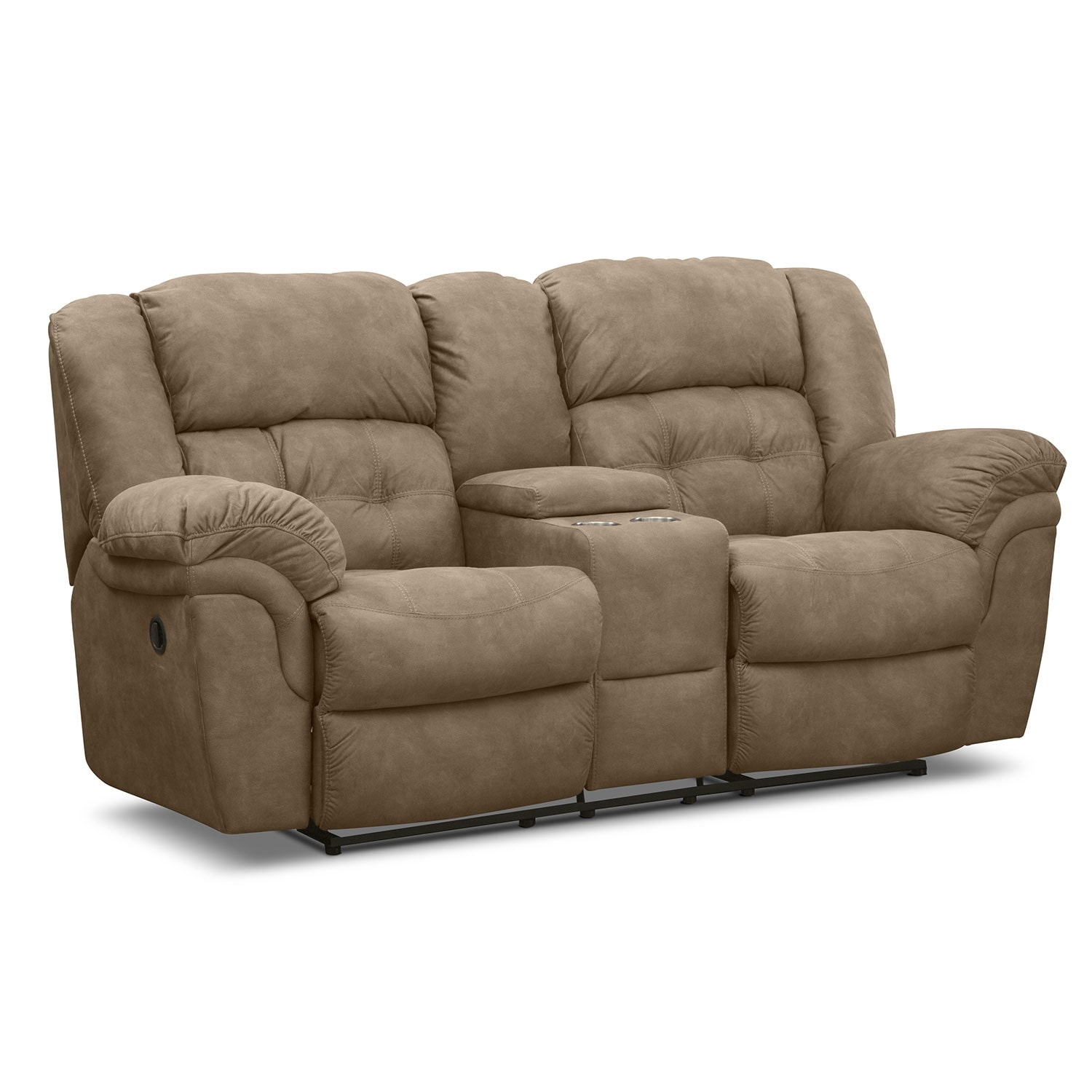 Lancer pecan upholstery reclining loveseat with console value city furniture Loveseats that recline
