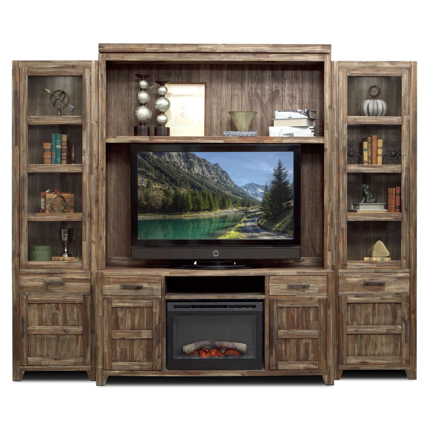 Hutchinson 5 pc entertainment wall unit with traditional Wall unit furniture