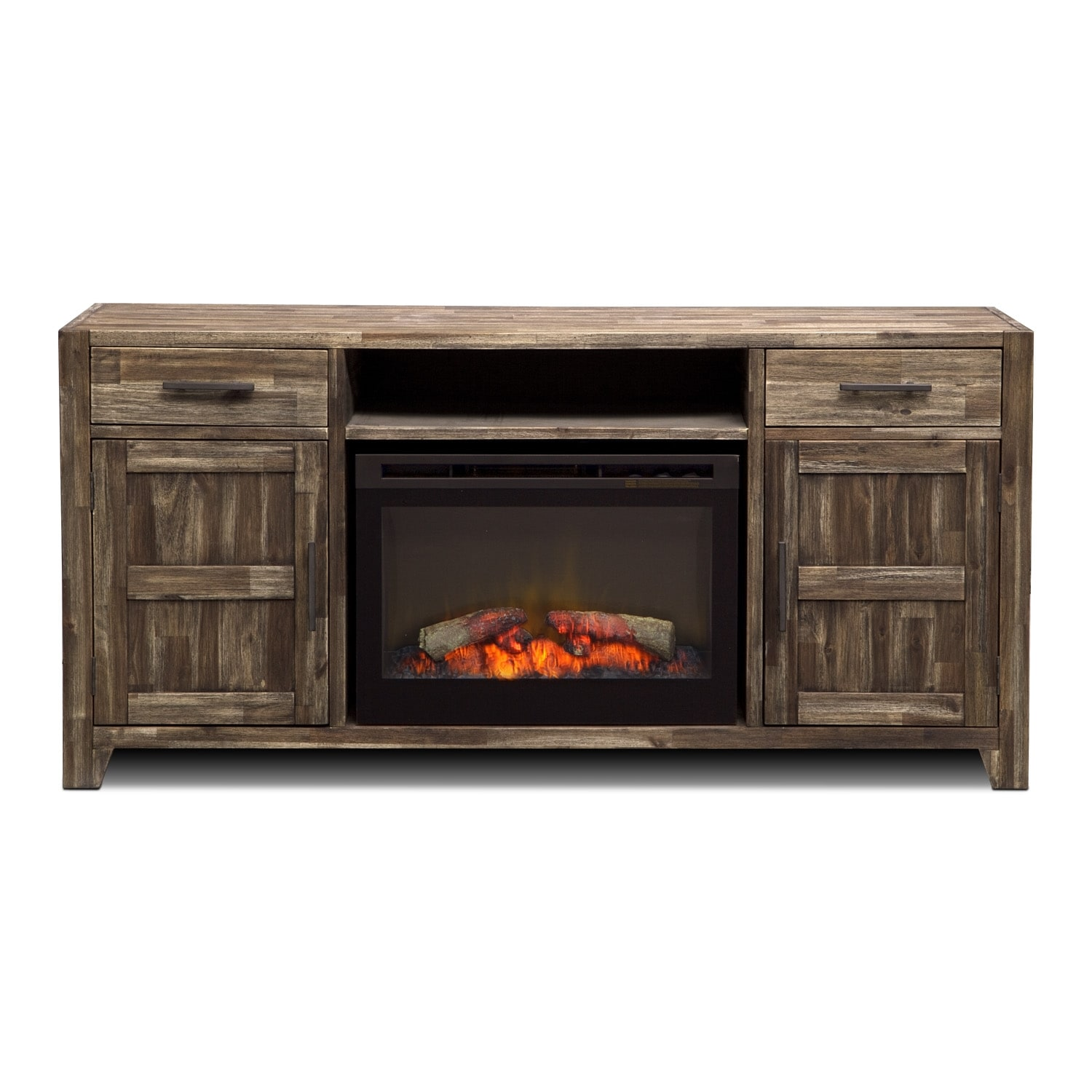 brentwood fireplace tv stand in traditional insert medium brown value city furniture. Black Bedroom Furniture Sets. Home Design Ideas