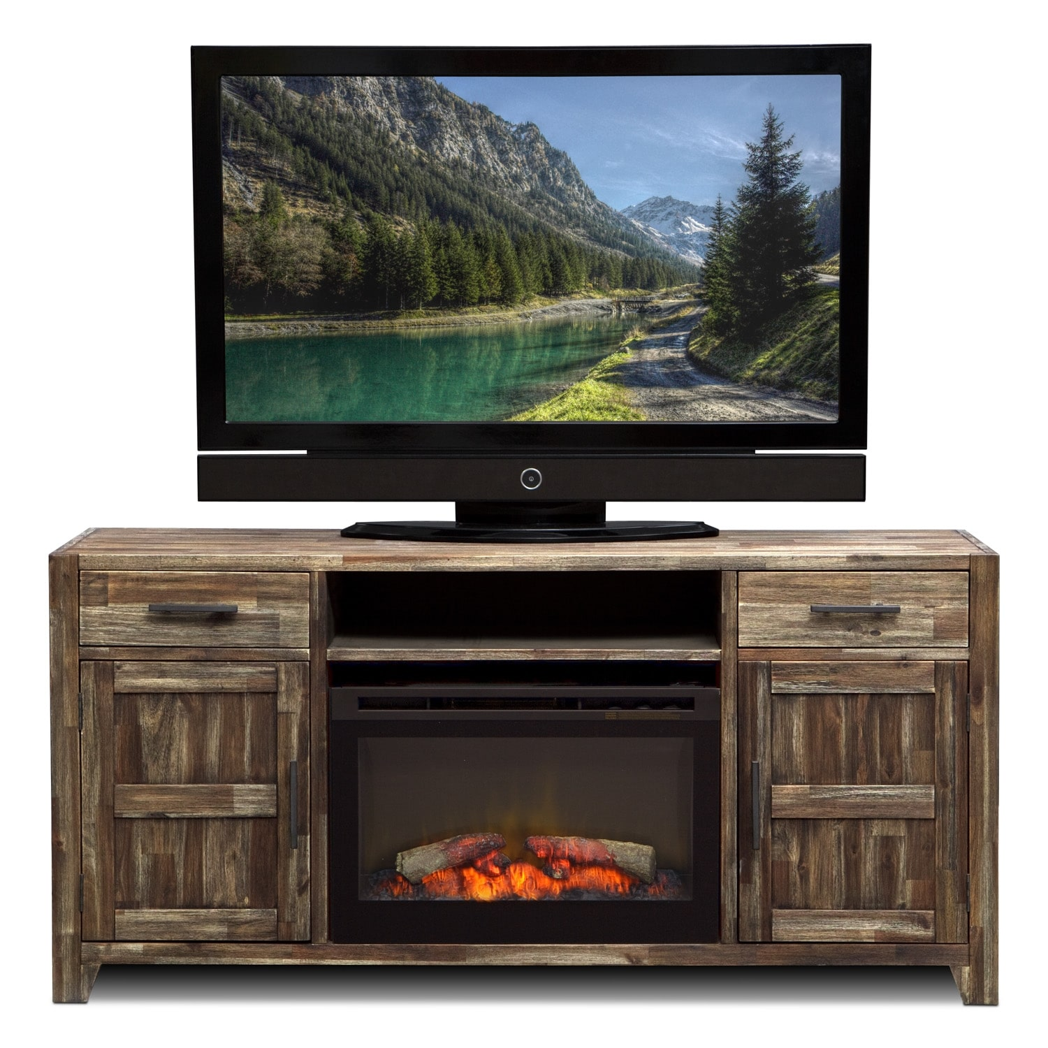 Brentwood Fireplace TV Stand in Traditional Insert - Medium Brown ...
