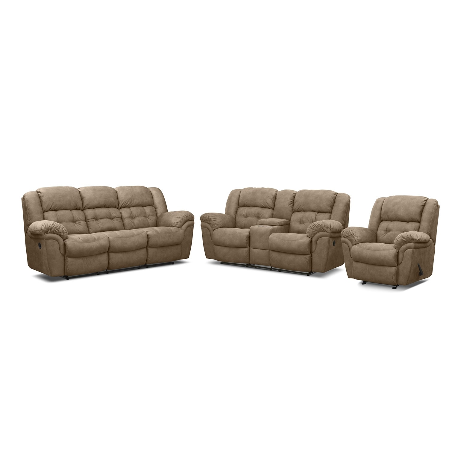 Benton pecan 3 pc reclining living room for Lounge room furniture packages