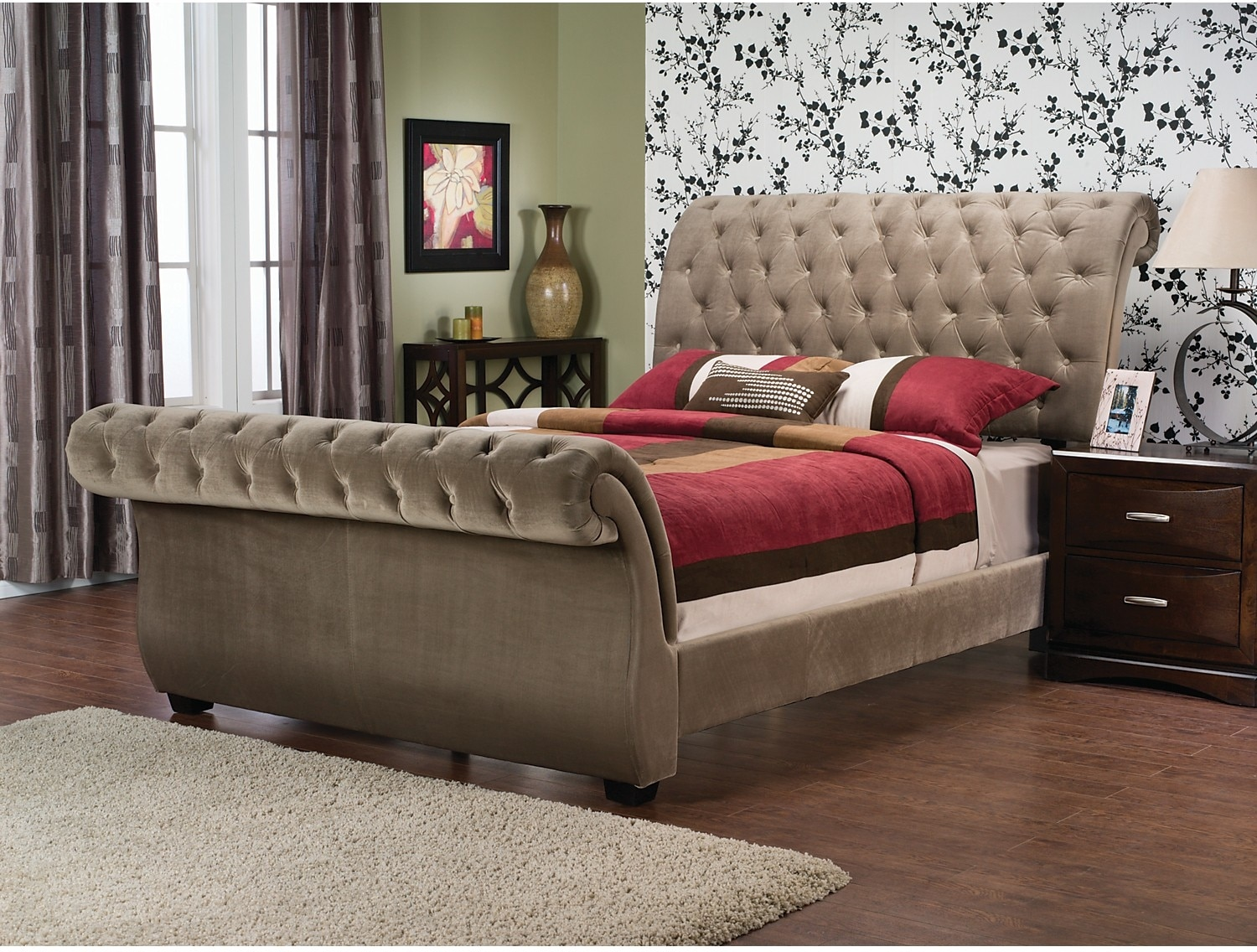 Bedroom Furniture - Westminster Polyester Velvet King Bed