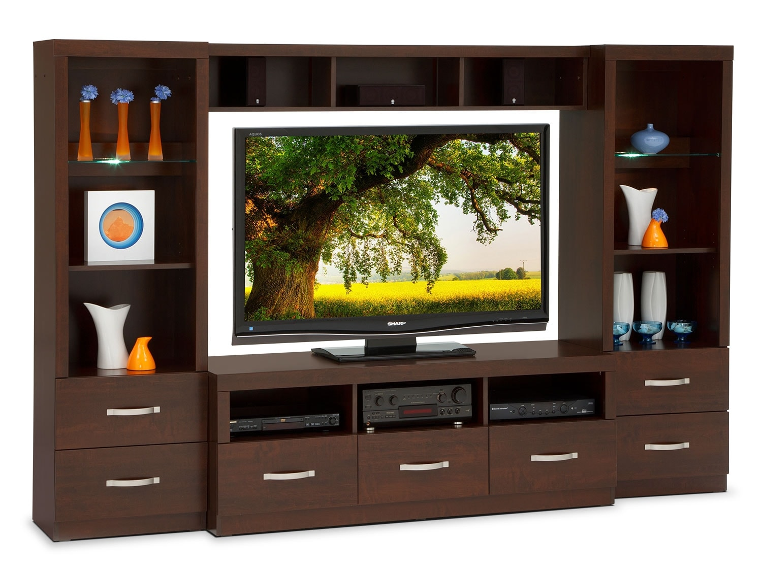 Wall Unit selkirk 4-piece entertainment wall unit - java | leon's