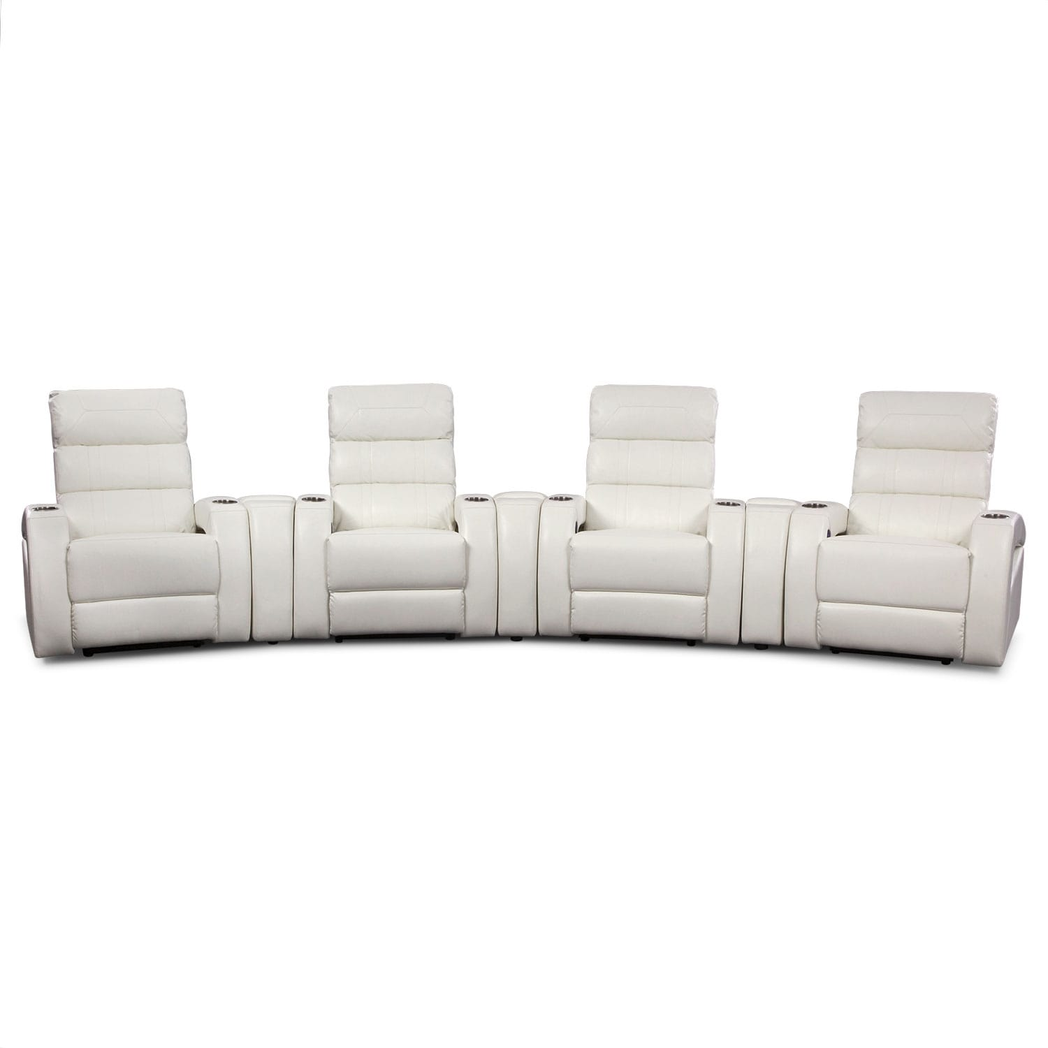 Paramount white leather 7 pc power home theater sectional for Sectional sofa for home theater