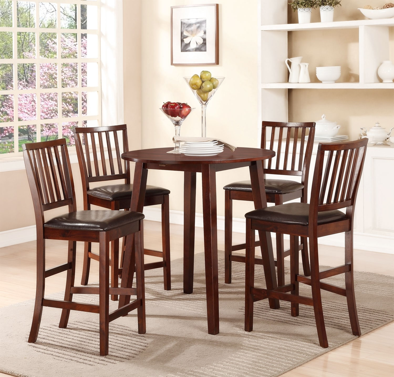 Dining Room Furniture - Adara 5-Piece Counter-Height Dining Package – Round Table