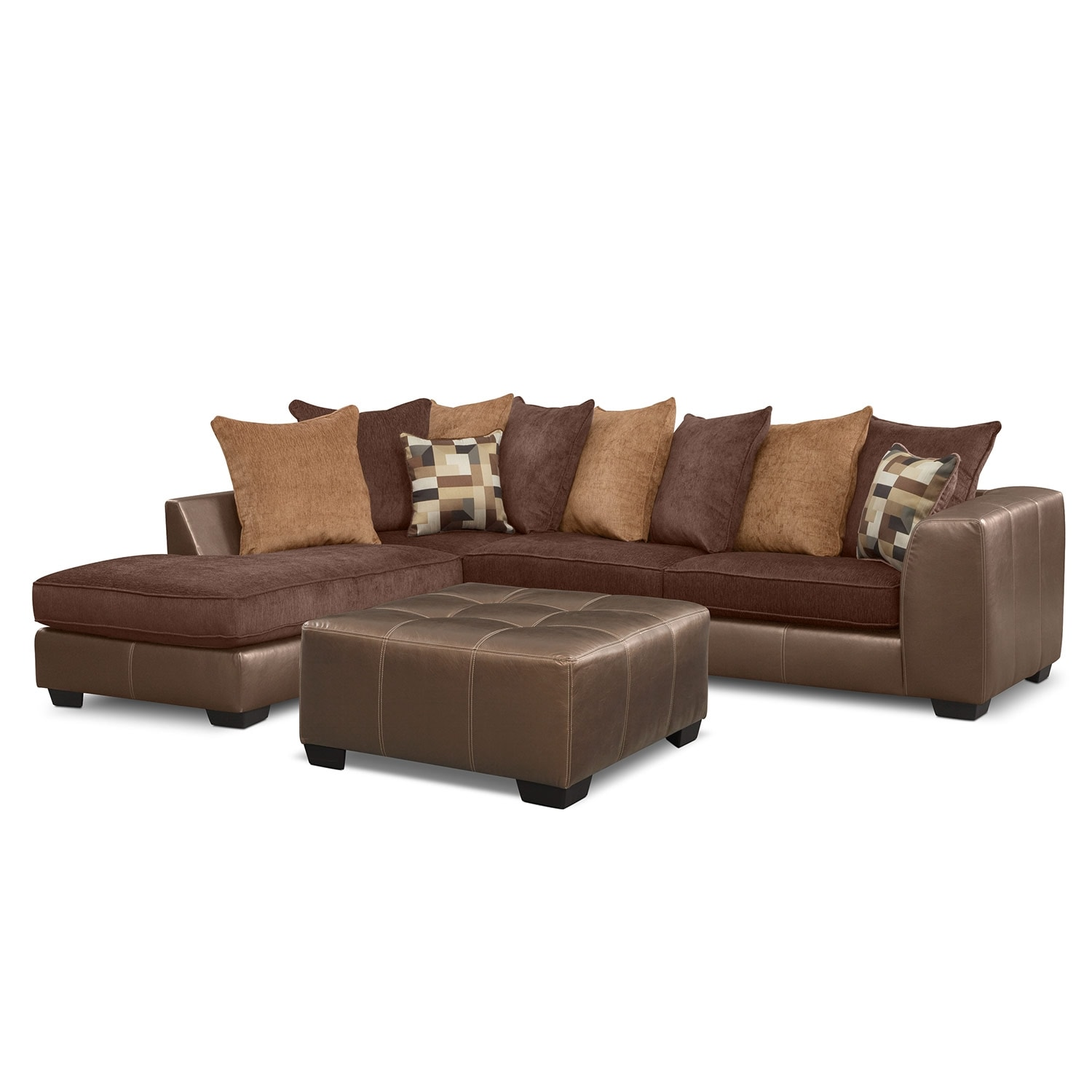 [Montero 2 Pc. Sectional (Reverse) and Cocktail Ottoman]