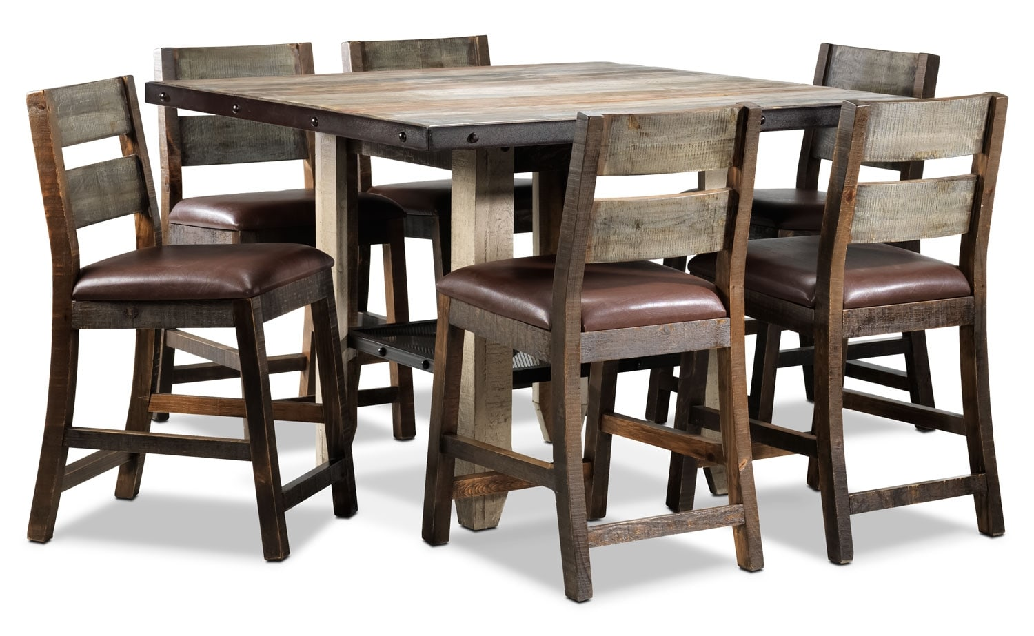 Dining Room Furniture - Allison Pine 7-Piece Pub-Height Dining Room Set - Antiqued Pine
