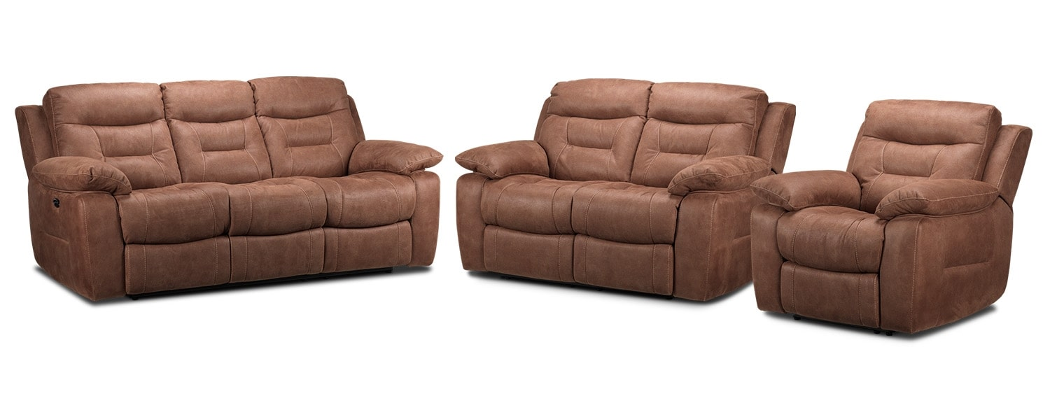 Collins Power Reclining Sofa, Power Reclining Loveseat and Power Recliner Set - Hazelnut