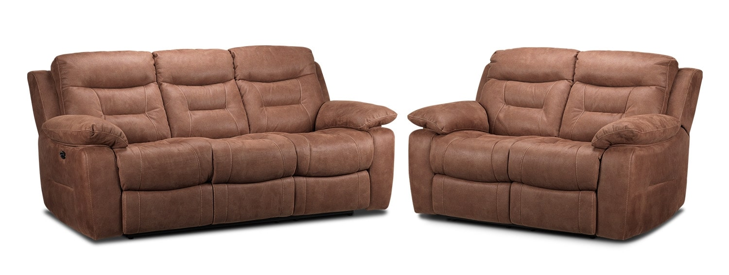 Collins Power Reclining Sofa and Power Reclining Loveseat - Hazelnut