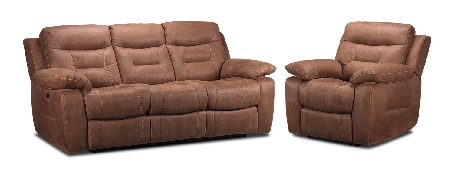 Collins Power Reclining Sofa and Power Recliner Set - Hazelnut