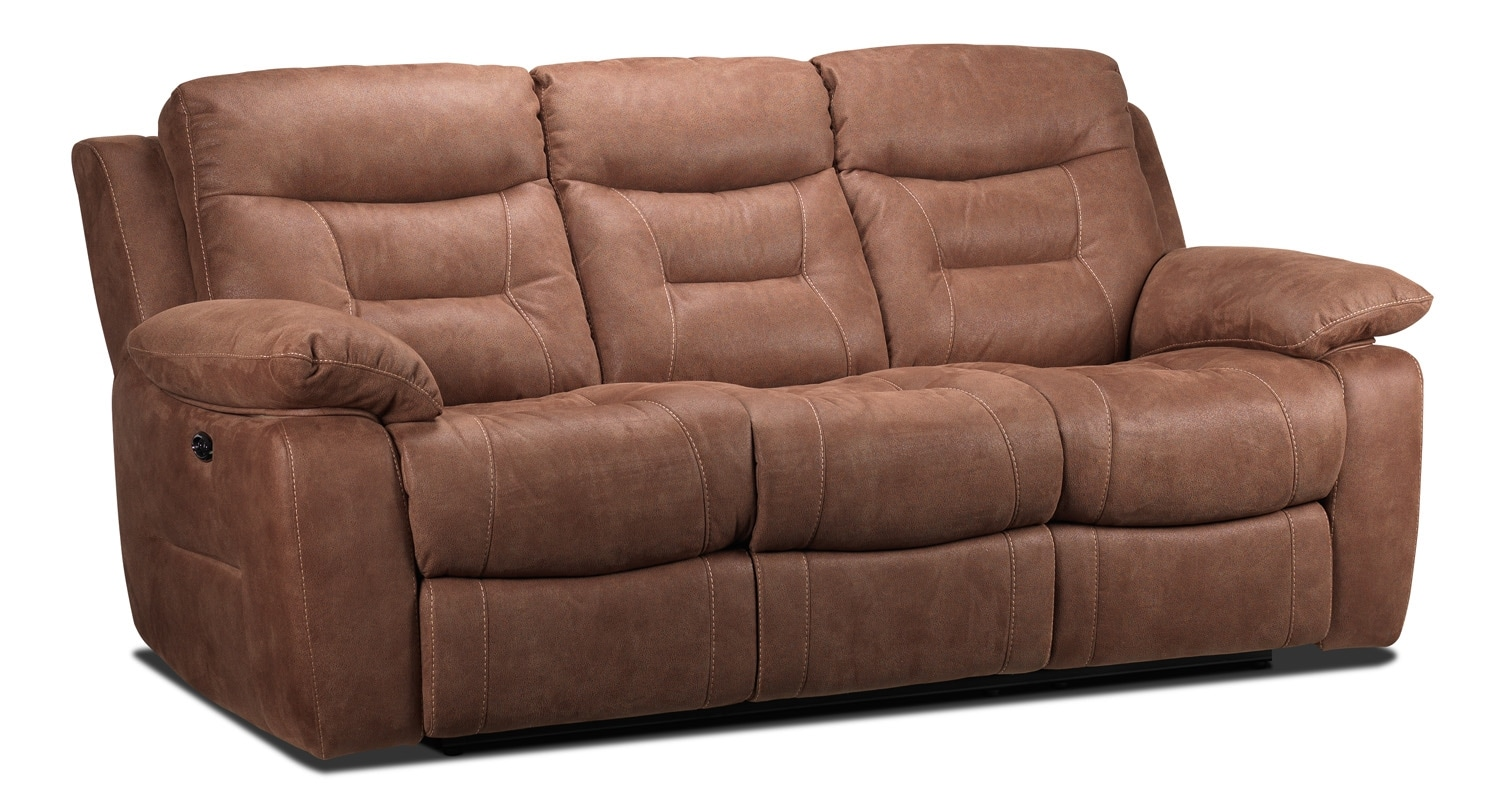 Living Room Furniture - Collins Power Reclining Sofa - Hazelnut