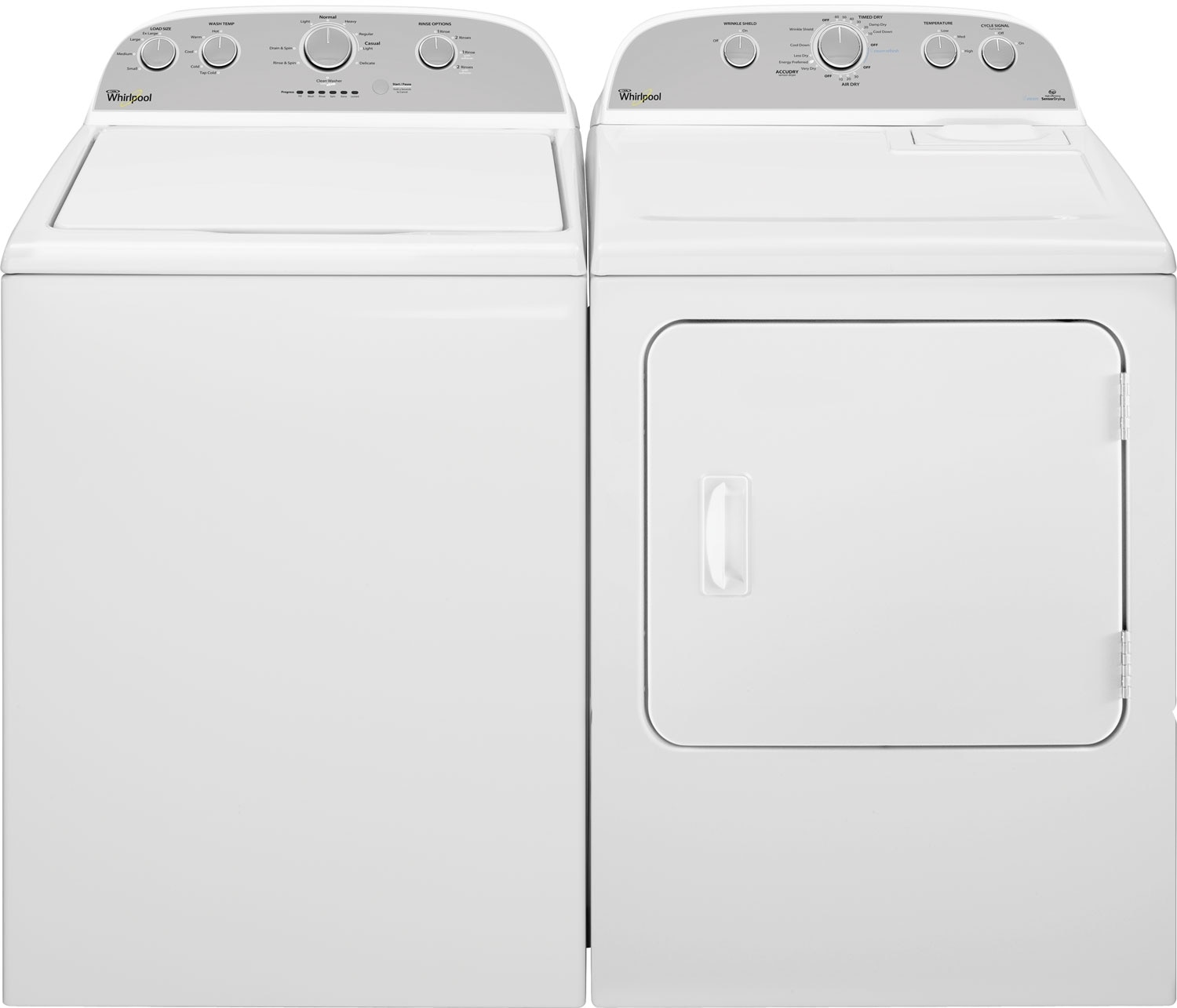 Washers and Dryers - Whirlpool® Cabrio® 5.0 Cu. Ft. Top-Load Washer and 7.0 Cu. Ft. Dryer – White