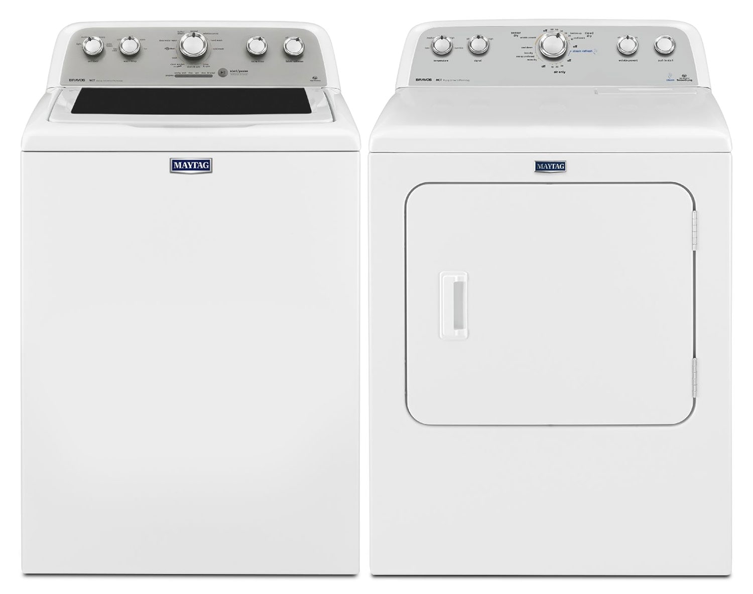 [Maytag Bravos White Top-Load Laundry Pair]