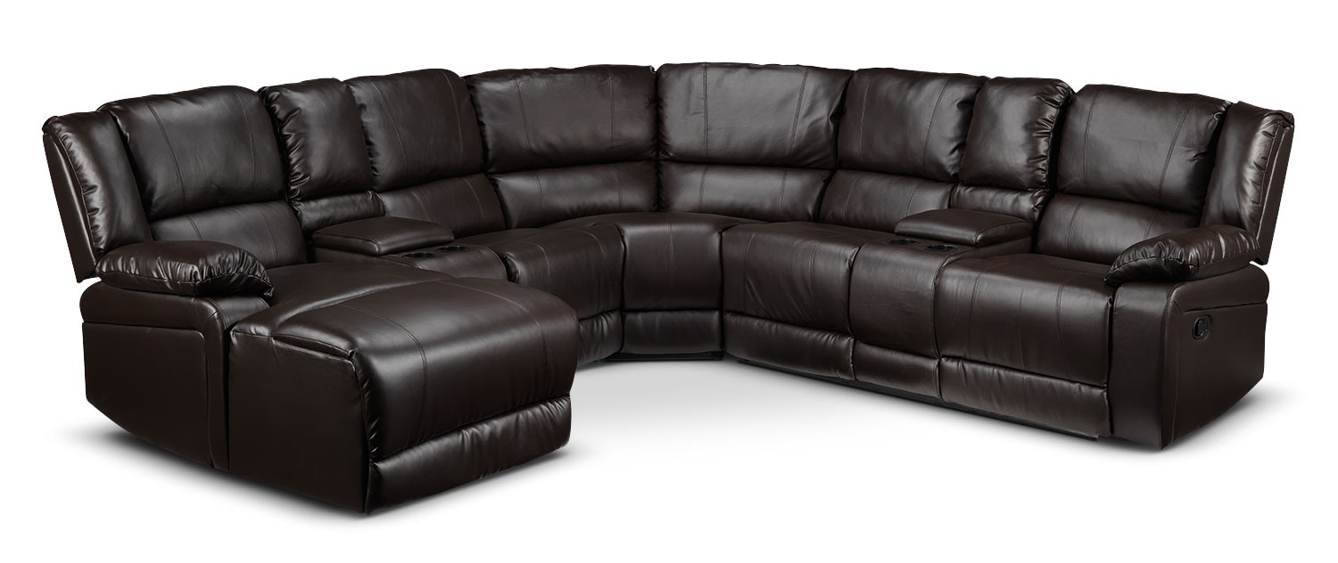 Pryor 5-Piece Left-Facing Reclining Sectional - Chocolate