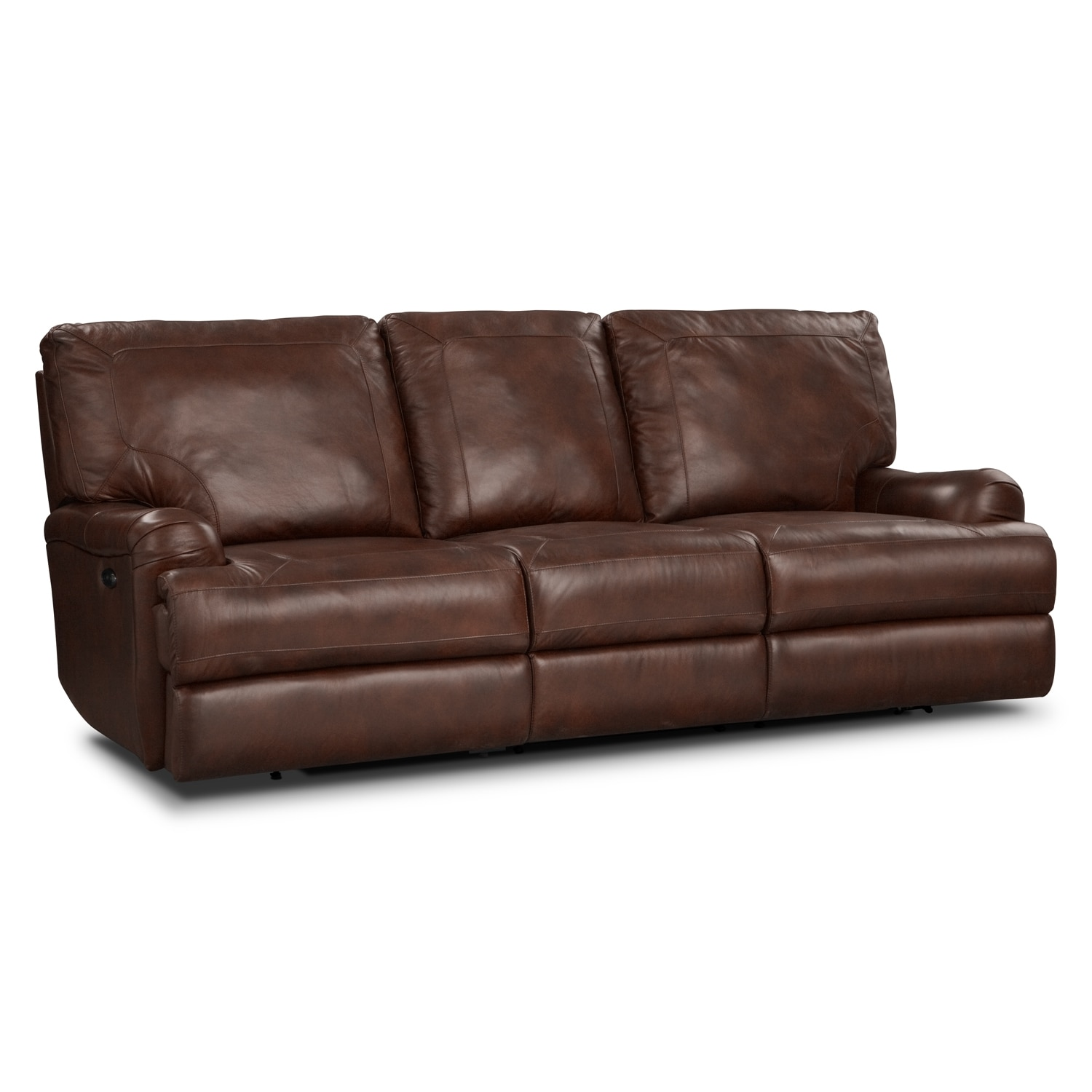 Kingsway leather power reclining sofa value city furniture for Leather reclining sofa
