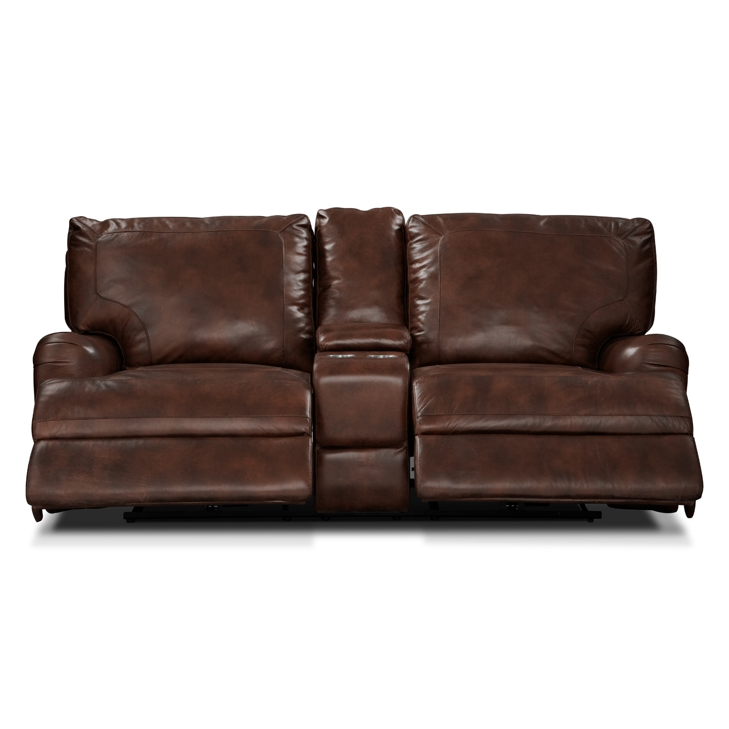 Kingsway Power Reclining Loveseat With Console Brown