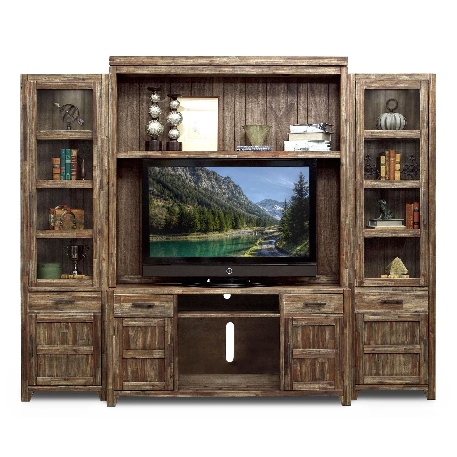Living Room Entertainment Furniture: Brentwood 4 Pc. Entertainment Wall Unit