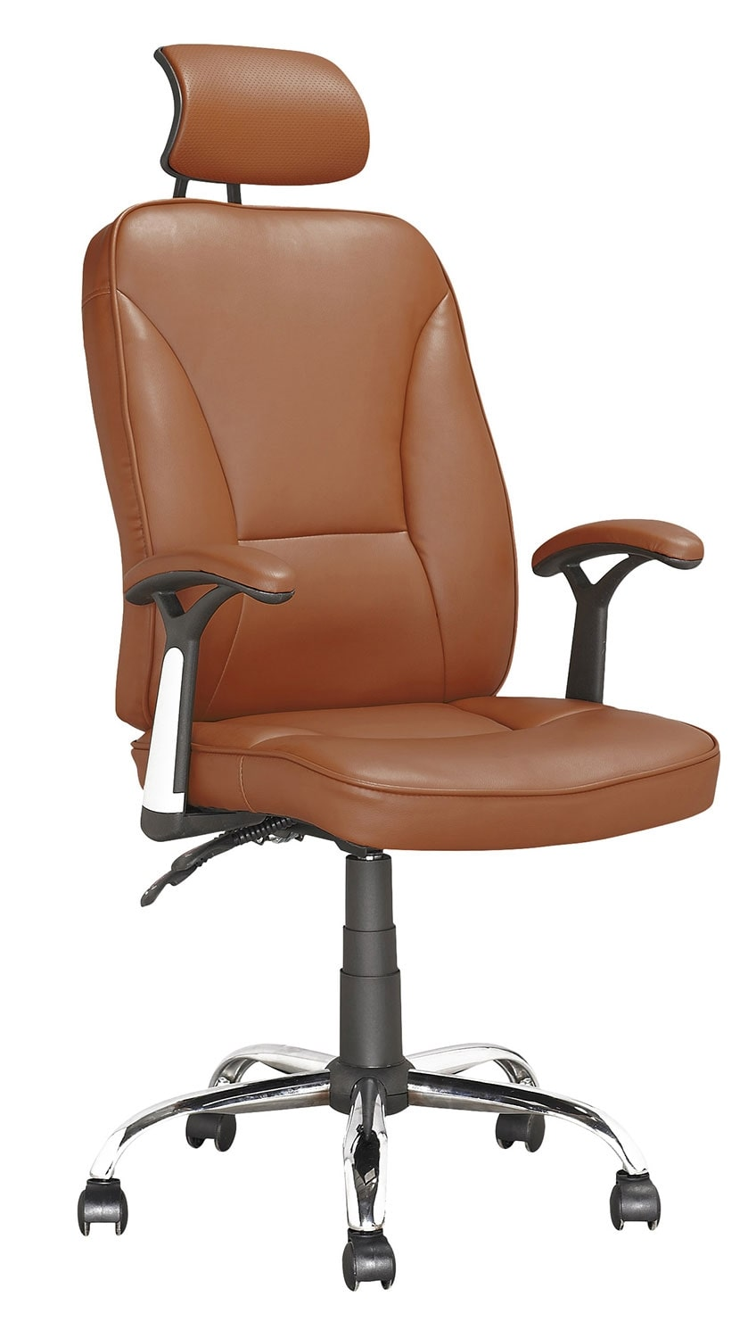 Home Office Furniture - Tulsa Foam-Padded Leatherette Executive Office Chair with Adjustable Headrest