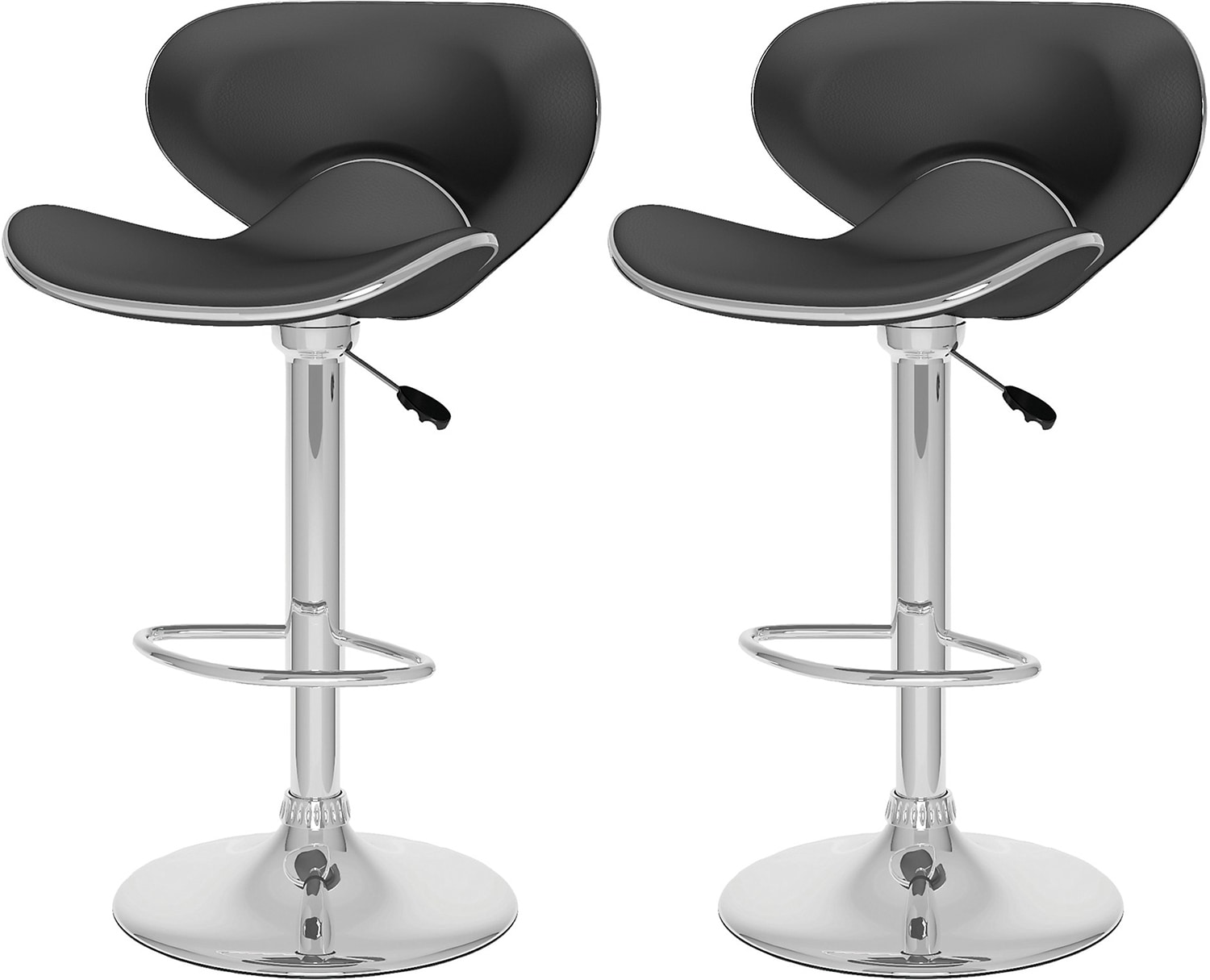 Curved Form-Fitting Adjustable Barstool Set of 2 - Black