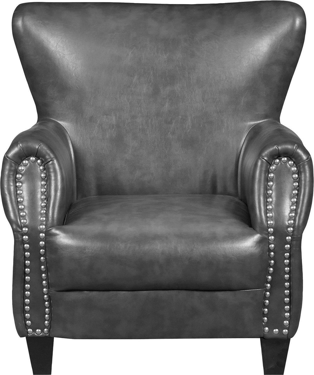 flint bonded leather accent chair  grey  the brick -