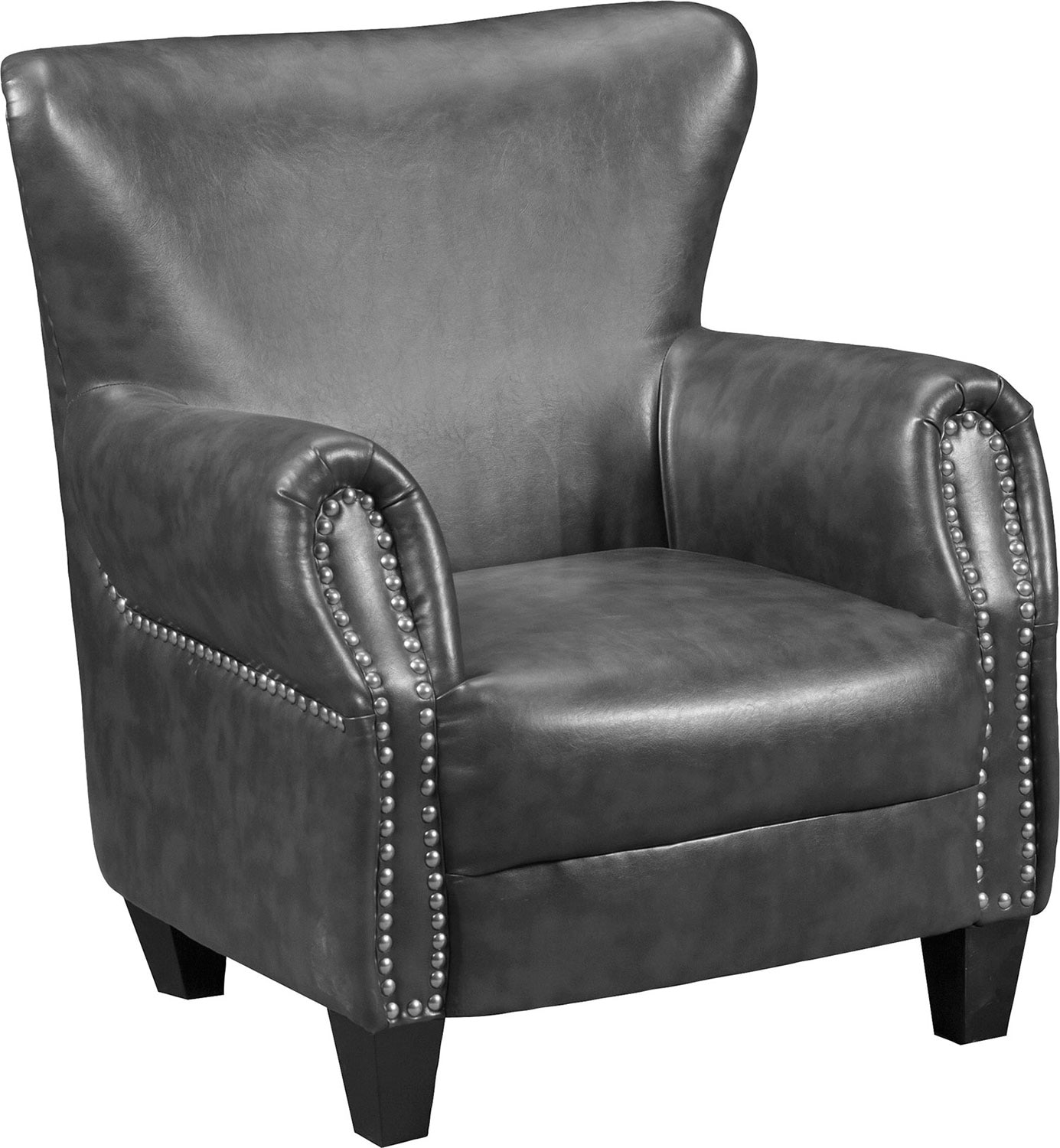 flint bonded leather accent chair  grey  the brick -  leather accent chair  grey hover to zoom