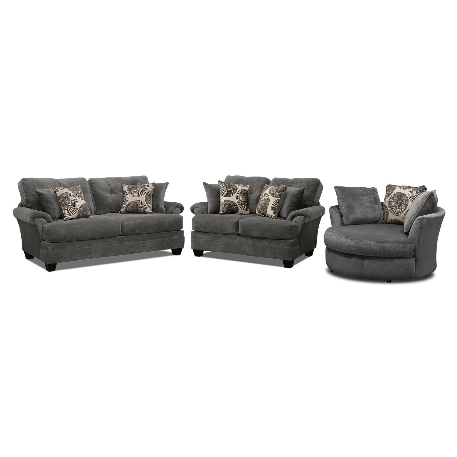[Cordoba Gray 3 Pc. Living Room w/ Swivel Chair]