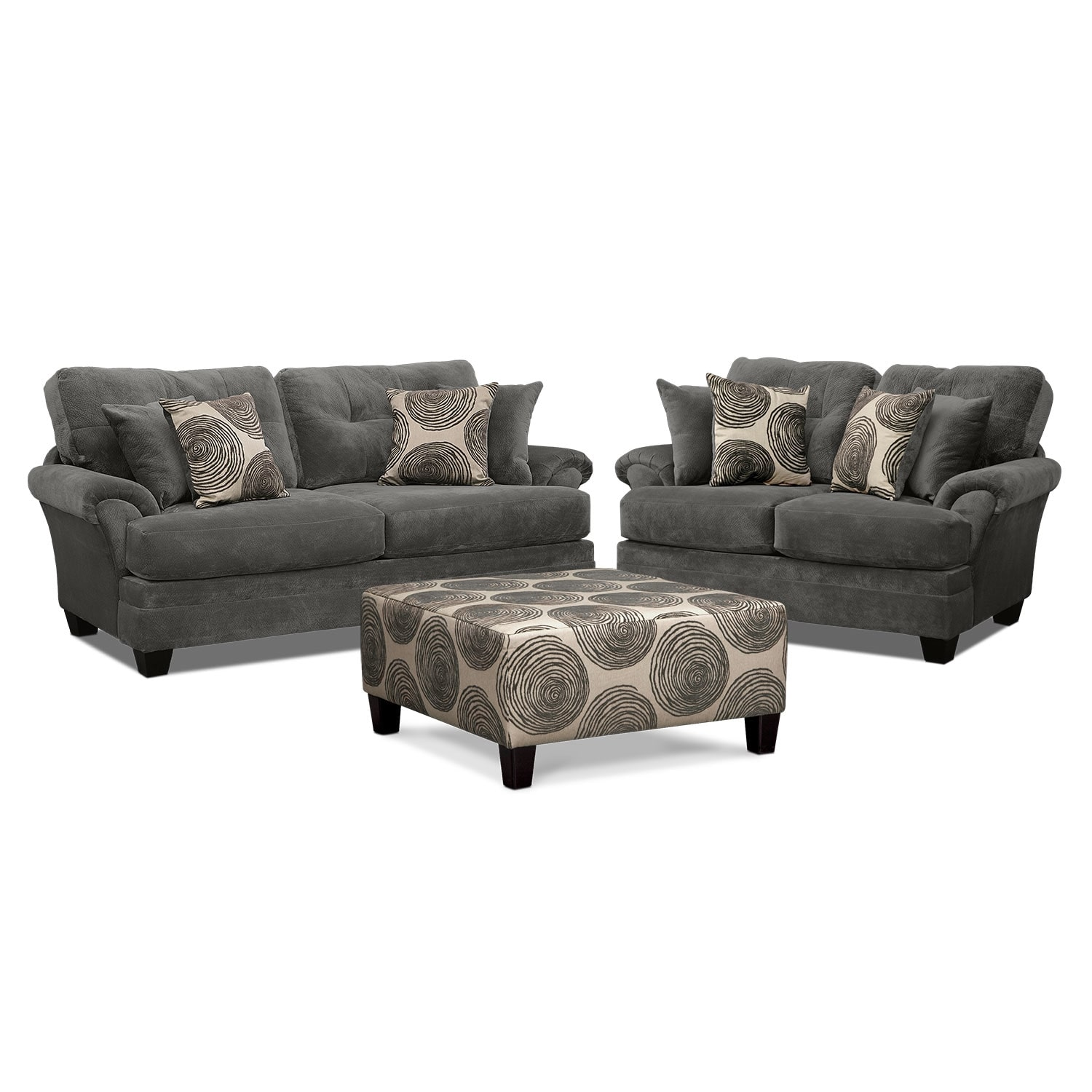 Cordelle Sofa Loveseat And Cocktail Ottoman Set Gray American Signature Furniture