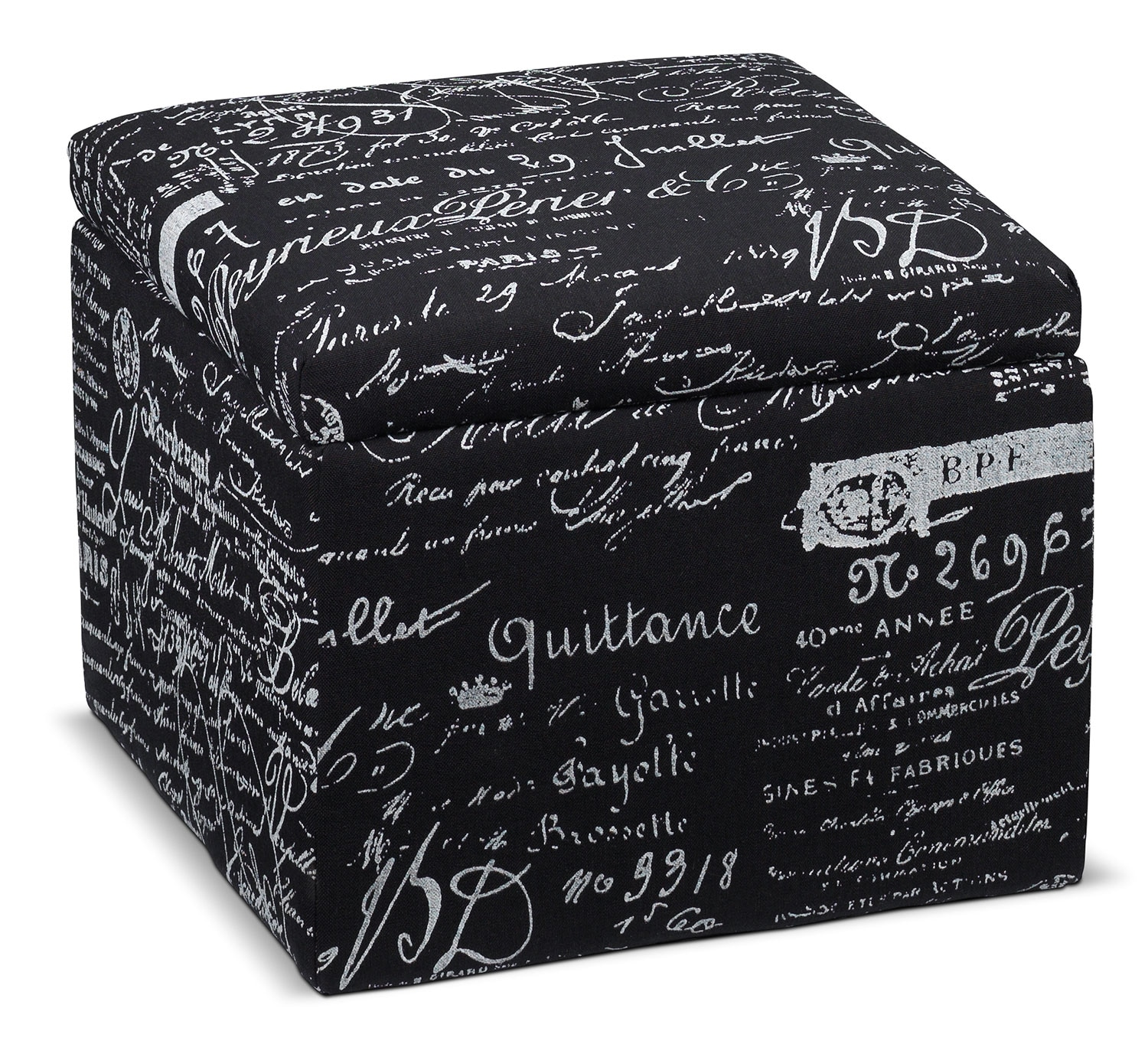Living Room Furniture - Boardwalk Small Storage Ottoman - Scroll Black