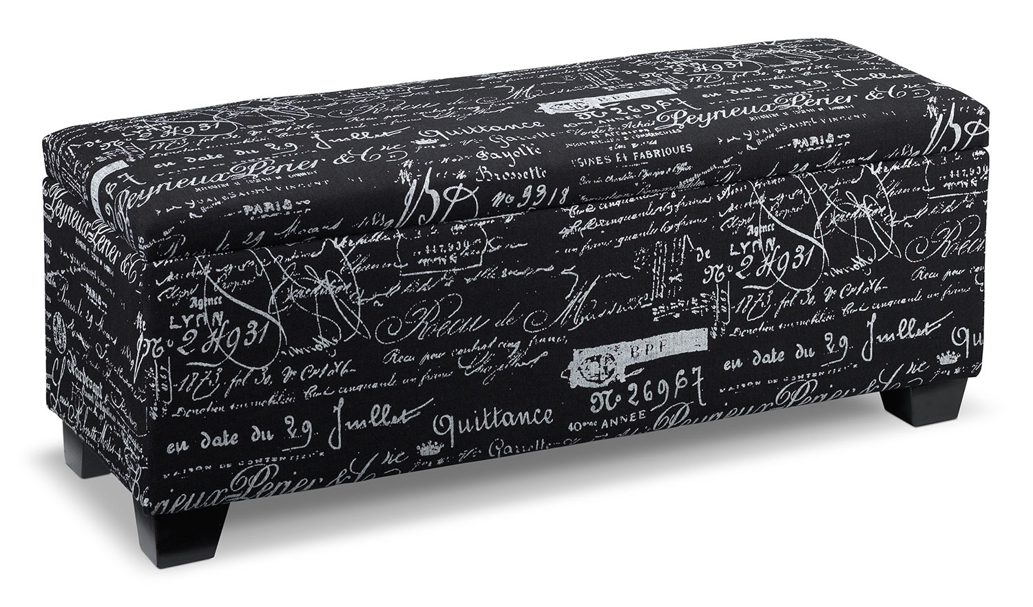 Boardwalk Large Storage Ottoman - Scroll Black