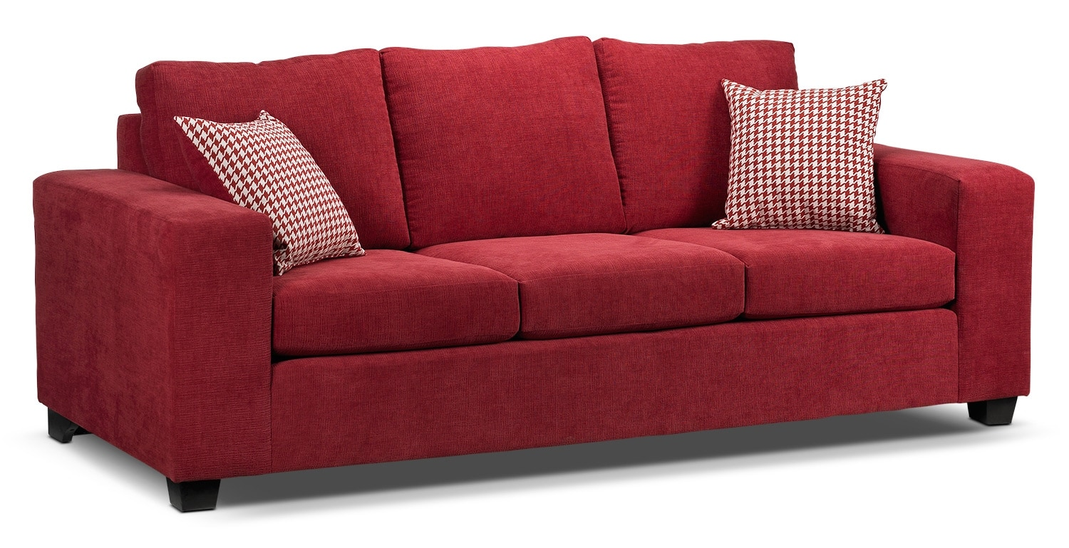 Living Room Furniture - Fava Sofa - Red
