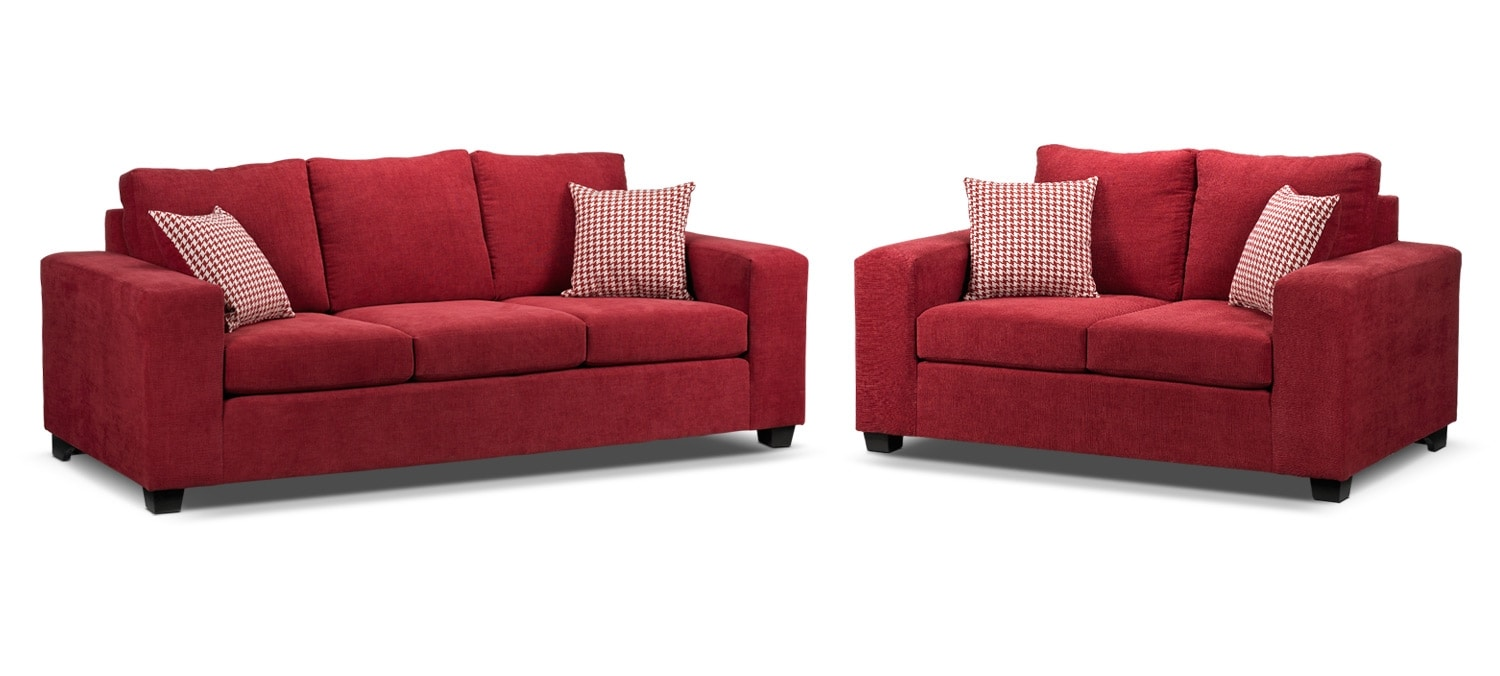 Fava 2 Pc. Living Room Package w/Loveseat - Red