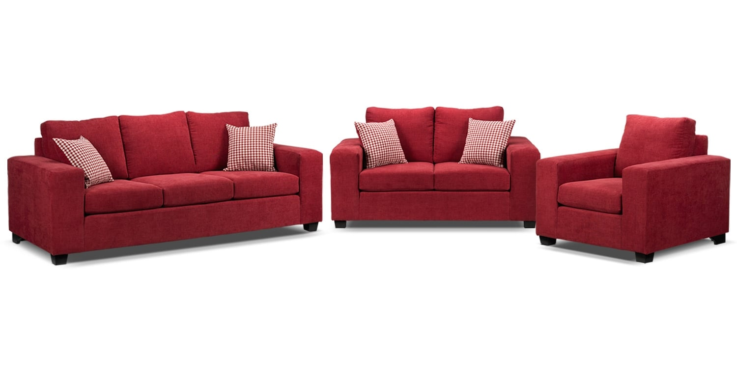 Fava 3 Pc. Living Room Package - Red