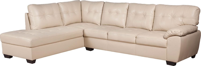 Living Room Furniture - Tobi Bonded Leather Left-Facing Sectional - Cream