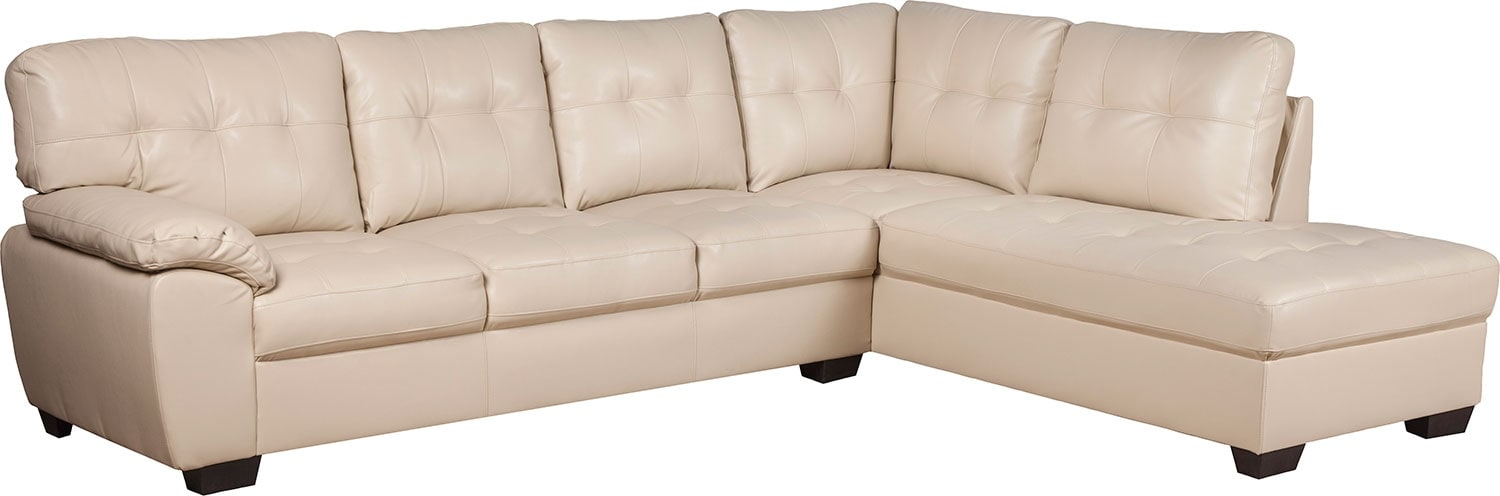 Living Room Furniture - Tobi Bonded Leather Right-Facing Sectional - Cream