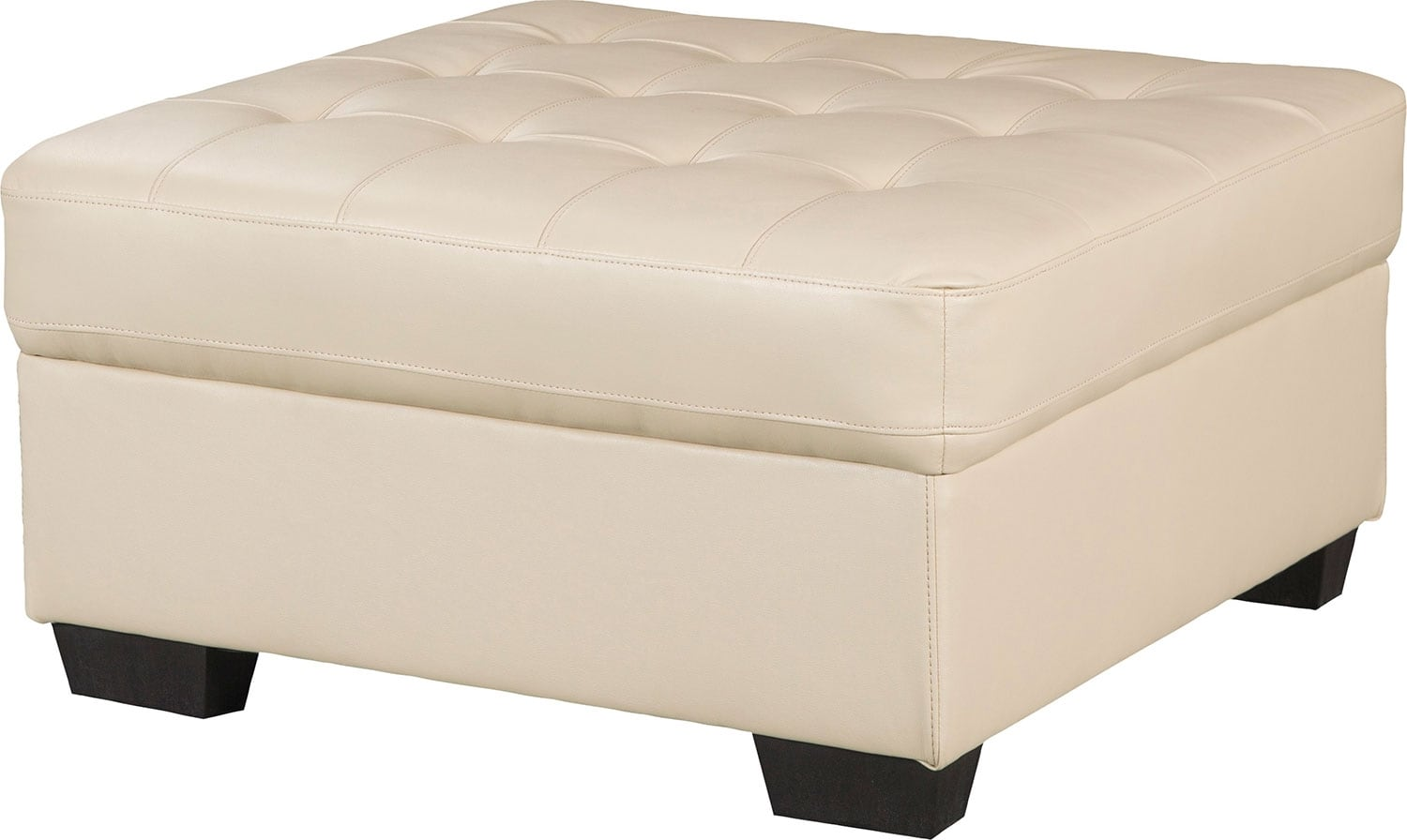Living Room Furniture - Tobi Bonded Leather Ottoman - Cream