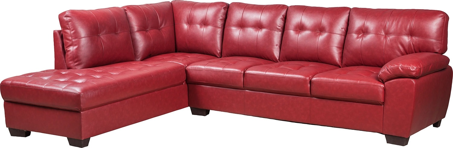 Living Room Furniture - Tobi Bonded Leather Left-Facing Sectional - Red