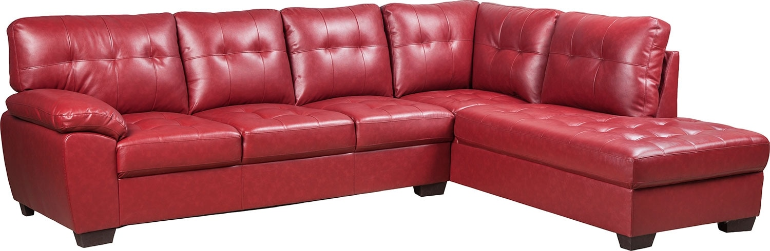 Living Room Furniture - Tobi Bonded Leather Right-Facing Sectional - Red
