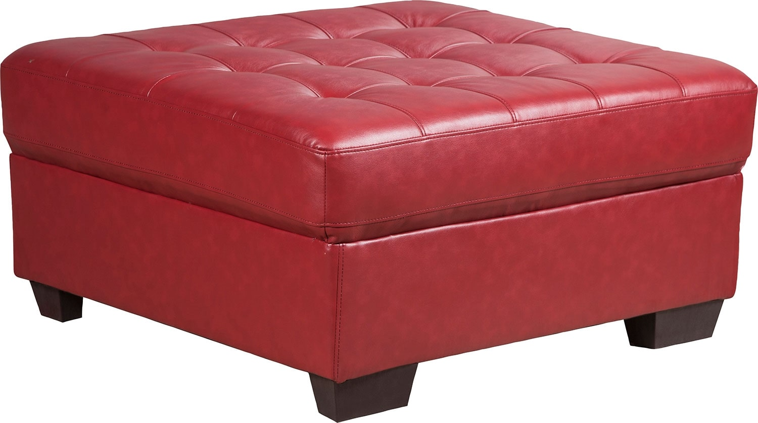 Tobi Bonded Leather Ottoman - Red