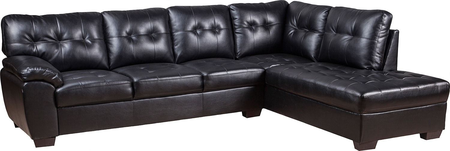 Living Room Furniture - Tobi Bonded Leather Right-Facing Sectional - Black