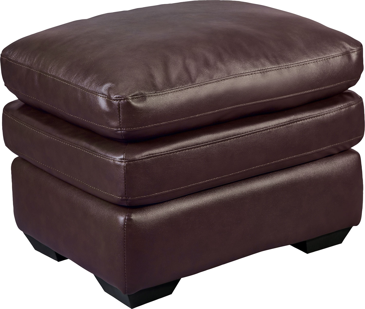 Living Room Furniture - Marty Genuine Leather Ottoman - Brown