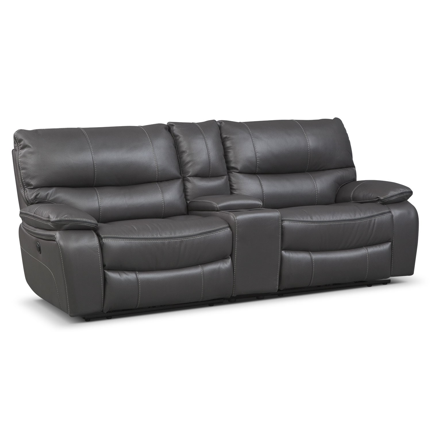Orlando Power Reclining Sofa With Console Gray American Signature Furniture