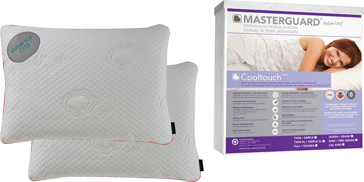 Bedgear™ Balance® Side-Sleeper Pillow and CoolTouch™ Mattress Protector Package – Queen