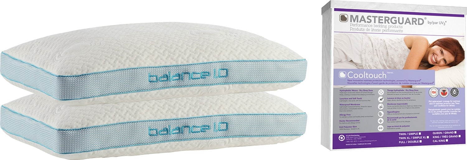 Bedgear™ Back-Sleeper Pillow and Masterguard® CoolTouch™ Mattress Protector Package – Queen