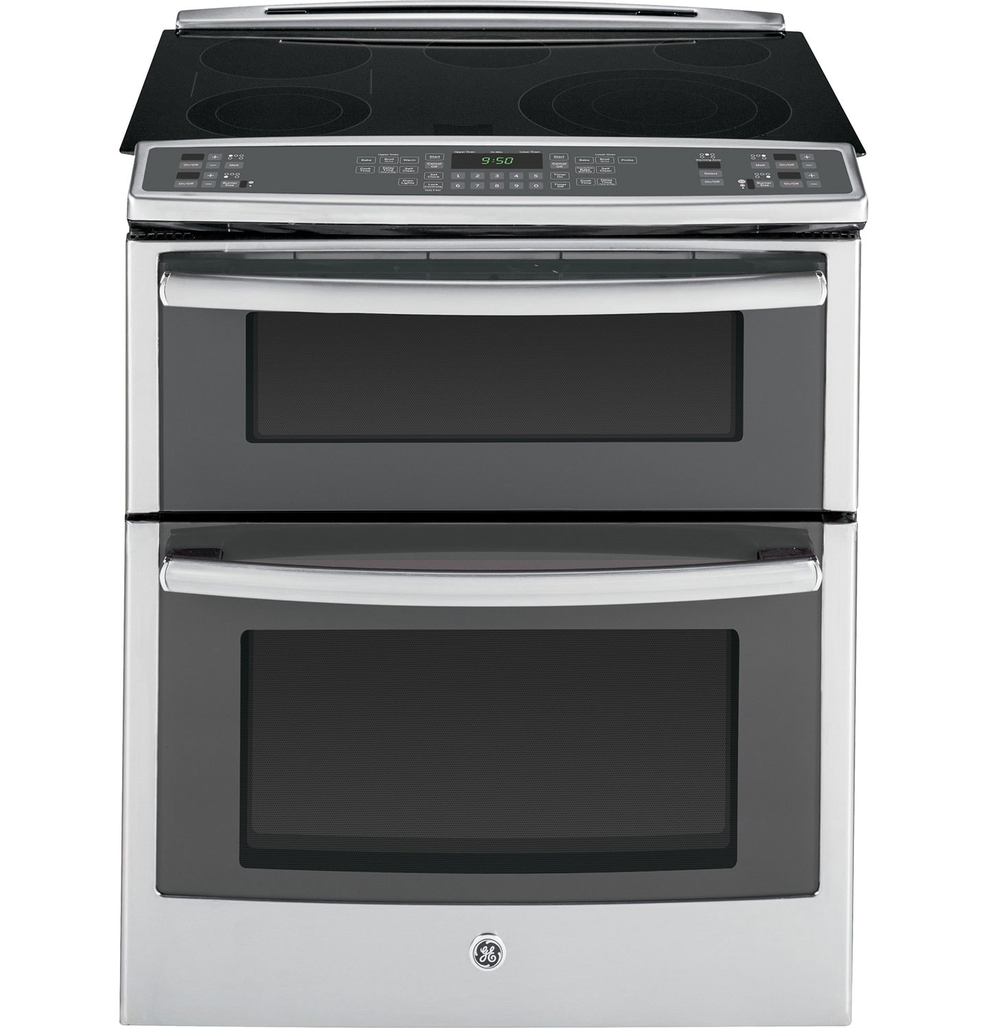 "Cooking Products - GE 30"" Slide-In True Convection Double Oven Electric Range – Stainless Steel"