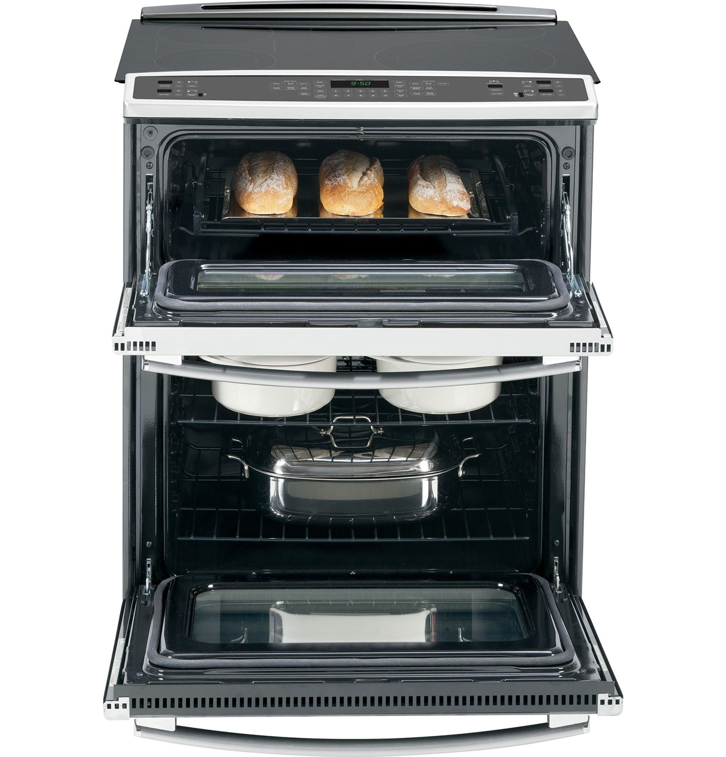 ge 30 slide in true convection double oven electric range