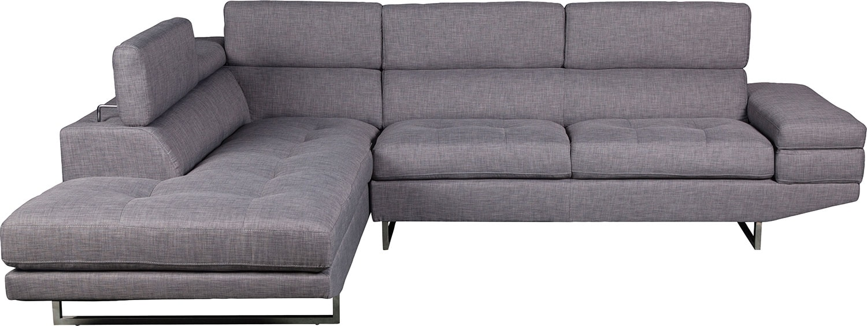The Brick Living Room Furniture Zeke 2 Piece Linen Look Fabric Left Facing Sectional Steel The