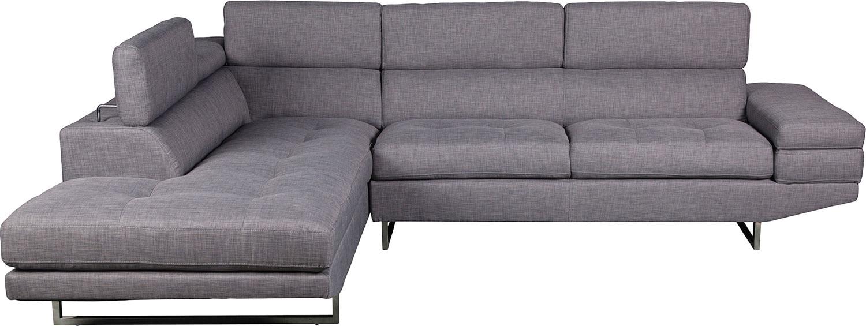 Living Room Furniture - Zeke 2-Piece Linen-Look Fabric Left-Facing Sectional - Steel